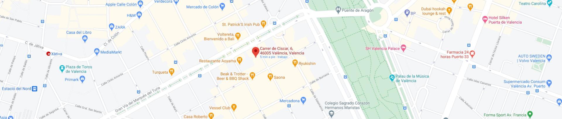 Google Maps de la oficina de Inmobiliaria EnValencia
